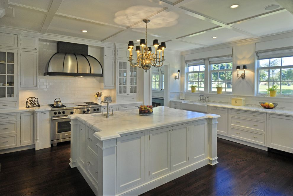 Lowes Hutchinson Ks with Traditional Kitchen Also Chandelier Coffered Ceiling Dark Wood Floors Glass Front Cabinets Island Marble Counters Professional Range Stainless Steel Appliances Subway Tile White