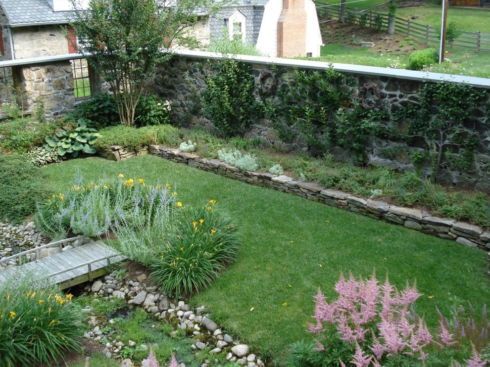 Lowes Hutchinson Ks with Traditional Landscape Also Bridge Cottage Garden Creek Garden Wall Garden Windows Grass Lawn Planters Raised Bed Rock Wall Rocks Stacked Stone Stone Wall Stream Turf Water Feature
