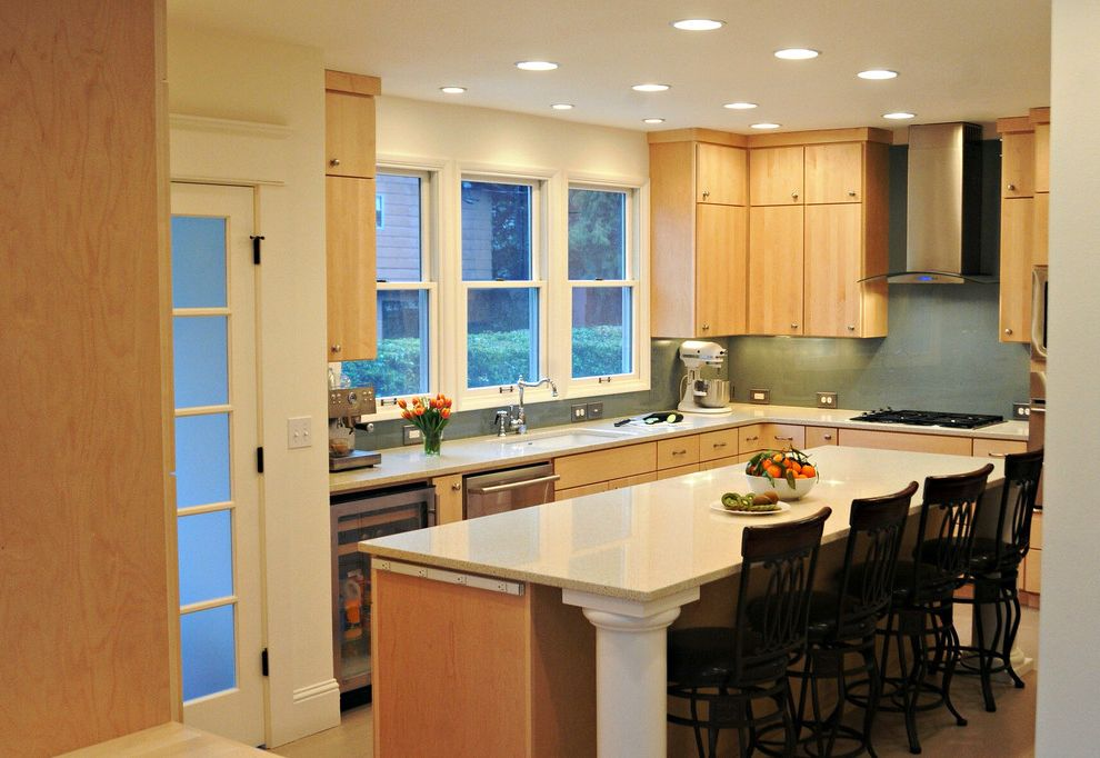 Lowes Hvac Installation with Contemporary Kitchen  and Blanco Silgranit Sink Caesarstone Counter Custom Cabinets Electrolux Appliance Glass Backsplash Island Column Maple Cabinets Painted Woodwork Plugmold Outlet Strips Stainless Steel Accessories