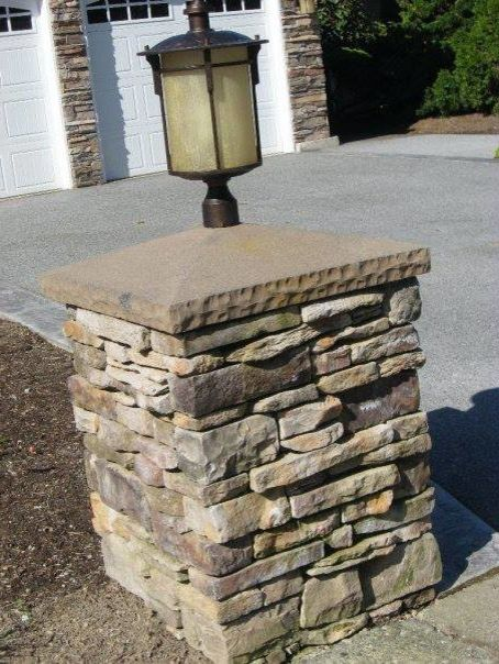 Lowes Issaquah   Craftsman Exterior  and Column Light Craftsman Light Lighting Stone Column