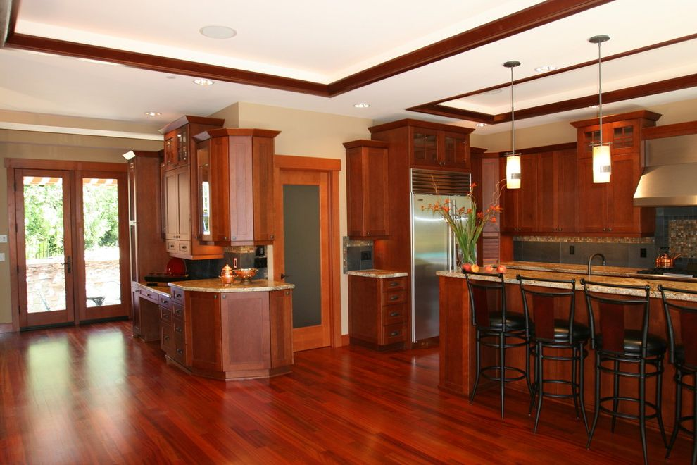 Lowes Issaquah   Craftsman Kitchen Also Beverage Bar Craftsman Kitchen Hardwood Floors Patio Doors Tray Ceiling