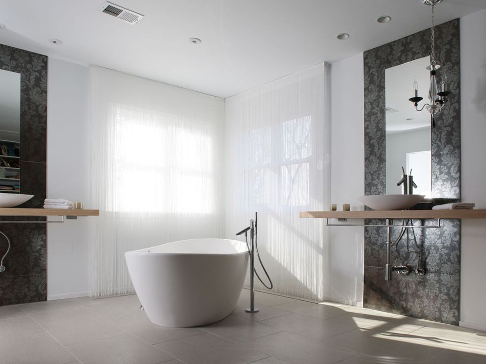 Lowes Jefferson City Mo   Modern Bathroom  and Accent Wall Curtains Damask Drapes Exposed Plumbing Floating Vanity Freestanding Tub Gray Floor Neutral Colors Shared Bathroom Vessel Sink Window Sheers Window Treatments