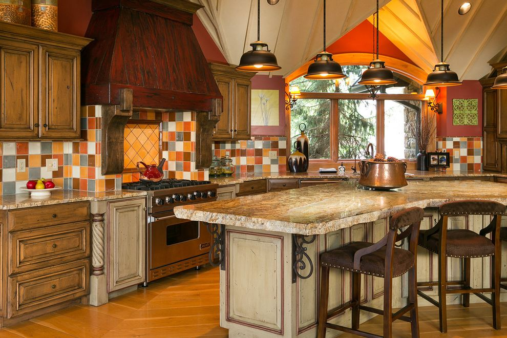 Lowes Jefferson City Mo   Rustic Kitchen  and Colorful Tile Backsplash Counter Stools Curved Counter Top Custom Vent Hood Kansas City Real Estate Kathy West Pendant Lights Row of Windows