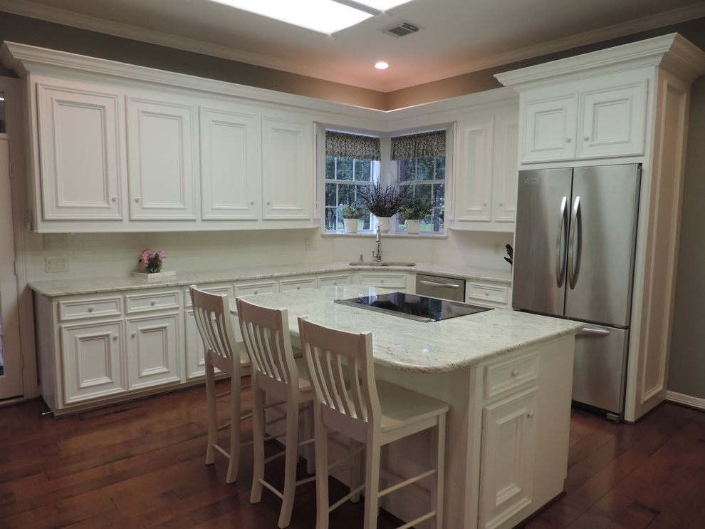 Lowes Kingwood   Transitional Kitchen Also Corner Sink Granite Countertop Kitchen Islands Carts Recessed Lighting White Granite White Kitchen
