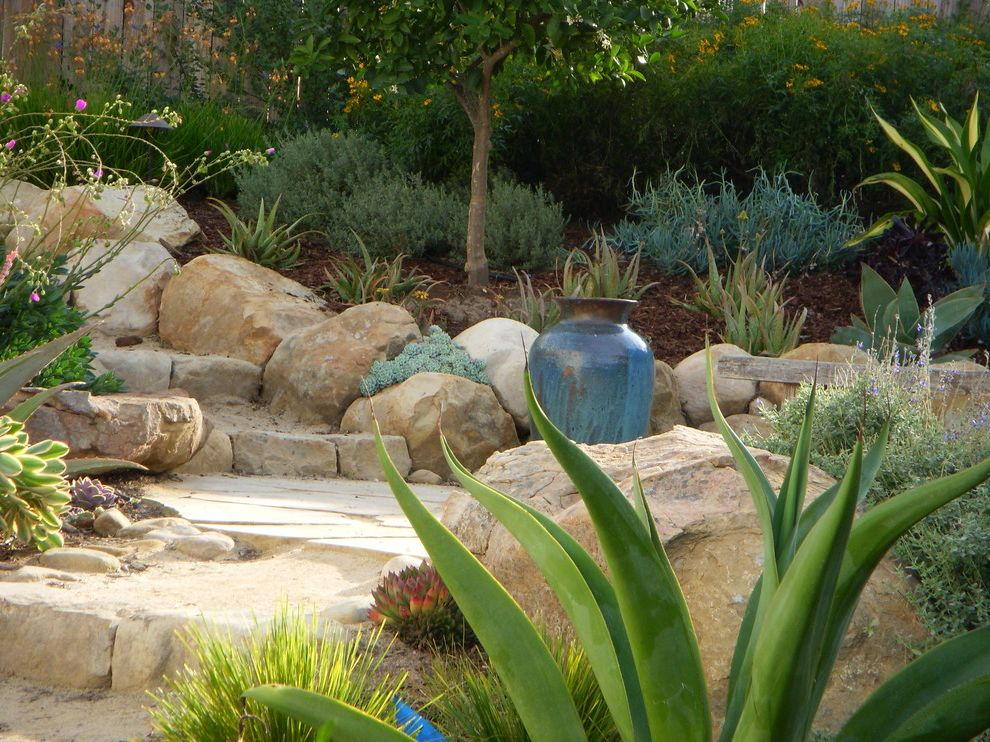 Lowes Kingwood with Mediterranean Landscape Also Bench Seat Blue Boulders Drought Tolerant Fountain Outdoor Seating Area Plant Pot Rocks Seasonal Color Small Backyard Spiky Plants Succulent Plants Terraced Vase Weathered Wood Fence