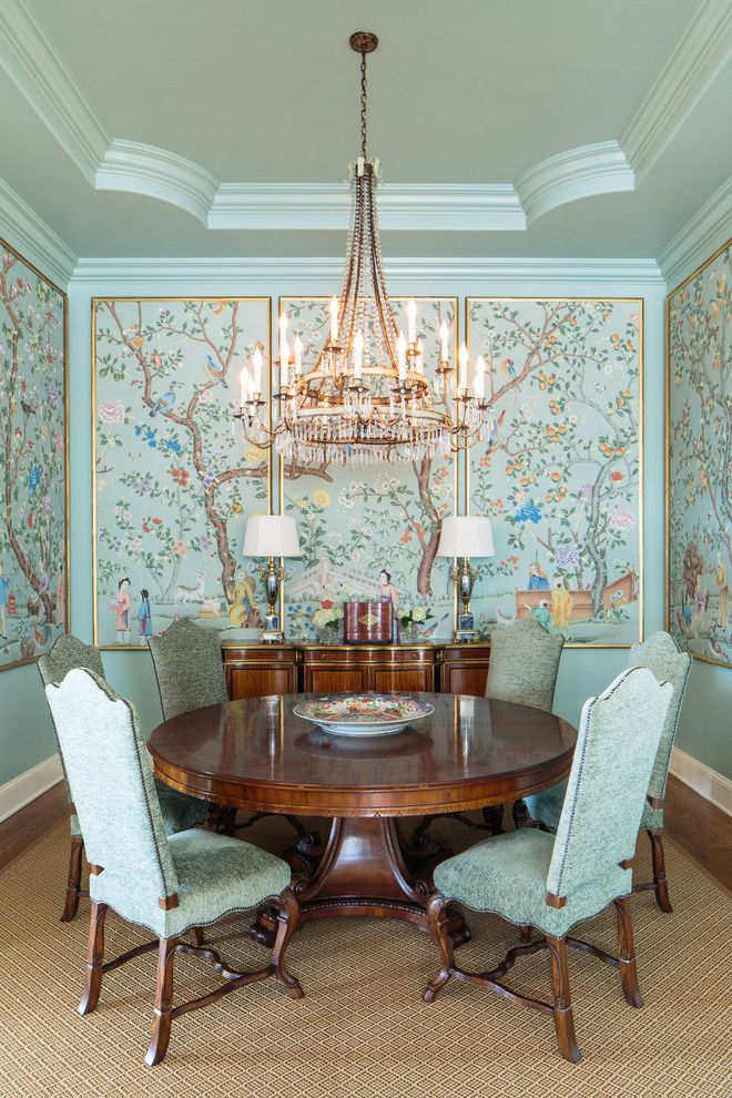 Lowes Knoxville Tn   Asian Dining Room Also Buffet Chandelier Dining Chairs Light Blue Molding Round Wood Table Traditional Wall Art Wall Paneling