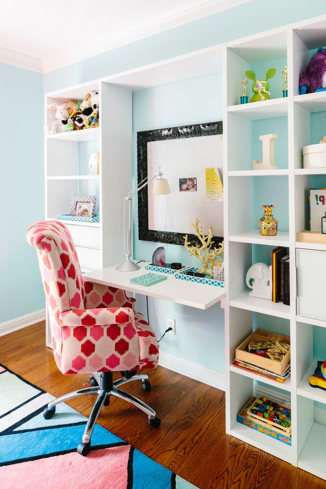 Lowes Knoxville Tn   Contemporary Kids  and Ben Finch Blue Walls Bold Patterns Built in Book Shelves Childrens Room Eclectic Finch Photo Kids Desk Natalie Clayman Interior Design Pink and Blue White Trim Wood Floor