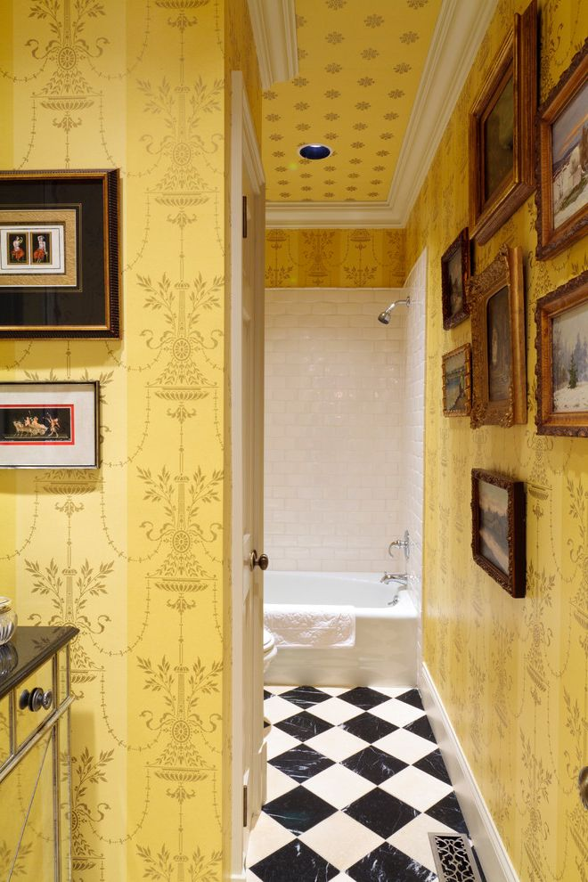 Lowes Knoxville Tn   Mediterranean Bathroom  and Alcove Black and White Checkerboard Tile Floor Framed Art Collage Mirrored Vanity Nook White Tile Wall White Trim Yellow Wallpaper