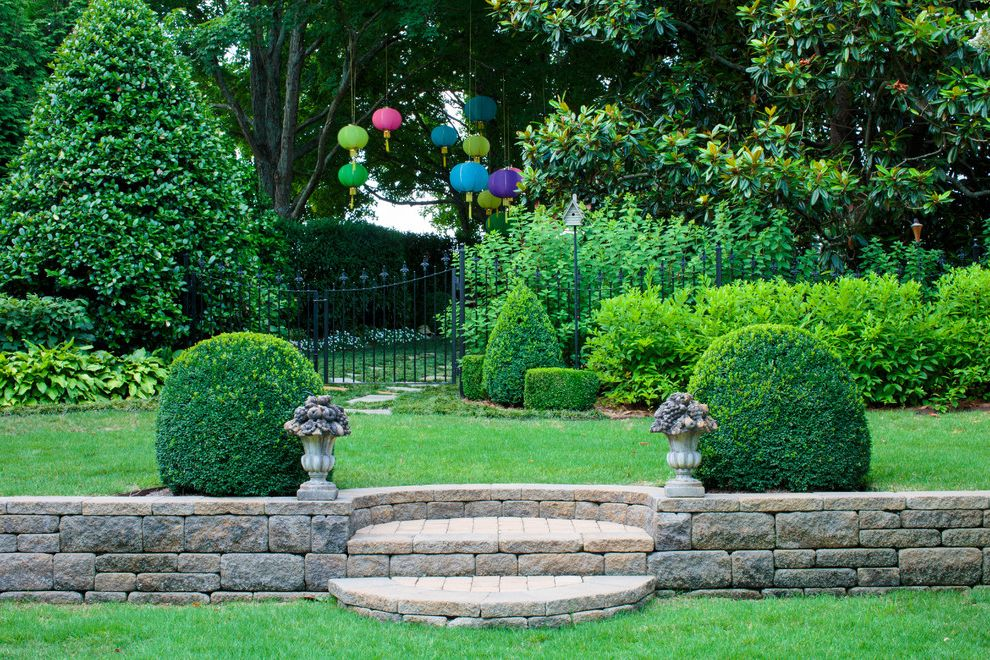 Lowes Knoxville Tn with Mediterranean Landscape Also Asian Lanterns Birdhouse Black Metal Fence Black Metal Gate Colorful Lanterns Fleur De Lis Finials Japanese Lanterns Magnolia Tree Paper Lanterns Shrubs Stone Garden Border Stone Steps Topiary Urns