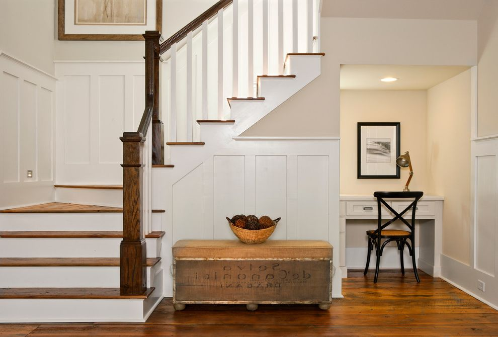 Lowes Laurel Ms   Beach Style Staircase  and Black Chair Built in Desk Cottage Dark Wood Railing Desk Under Stairs Framed Artwork Laurel Recessed Lighting Southern Style Task Lamp White Wainscoting