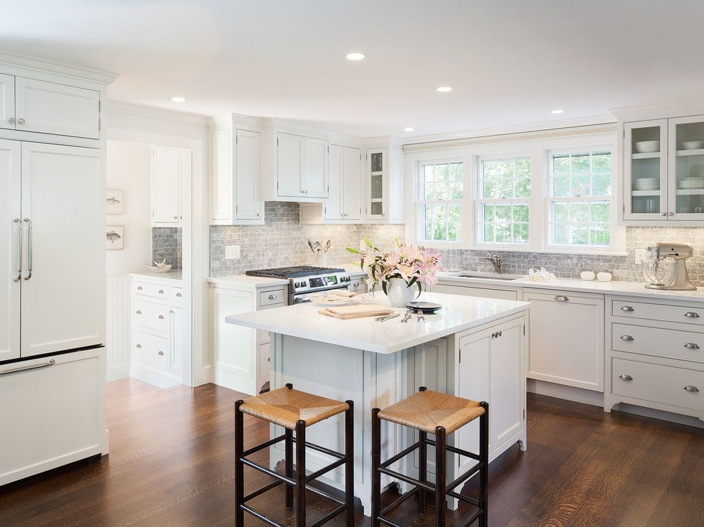 Lowes Laurel Ms with Traditional Kitchen Also Dark Wood Bar Stools Dark Wood Counter Stools Glass Fron Cabinet Kitchen Island Medium Wood Flooring Recessed Lighting White Countertop White Kitchen Window Above Sink