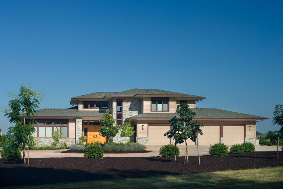Lowes Lawton Ok with Contemporary Exterior  and 4 Car Garage Entry Exterior Facade Front Door Landscaping Stone