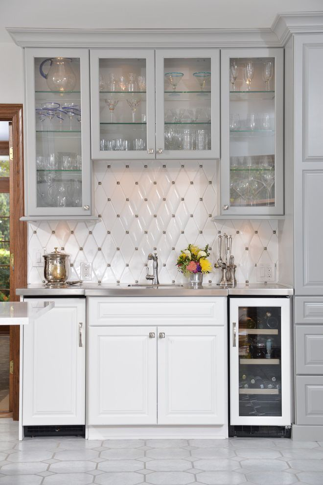 Lowes Mansfield Ohio   Traditional Home Bar  and Diamond Tile Backsplash Glass Front Cabinets Glass Shelves Octagon Floor Tile White Floor Tile Wine Refrigerator