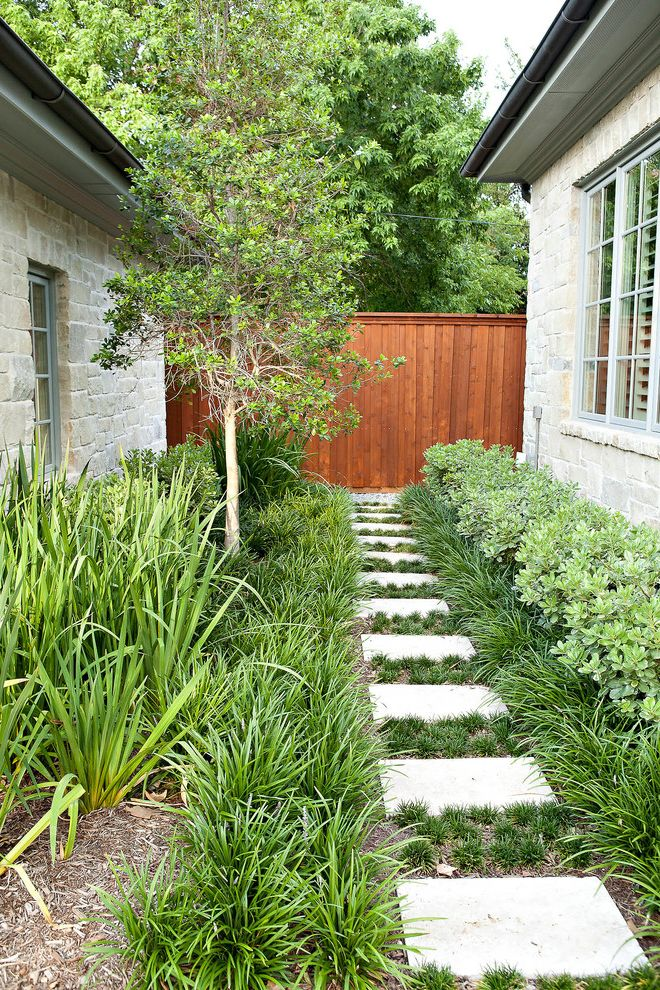 Lowes Mansfield Ohio with Transitional Landscape Also Contemporary Landscape Garden Path Garden Pathway Low Maintenance Plants in Cracks Shrubs Sideyard Small Tree Square Stepping Stones Stone Walls Wood Fence