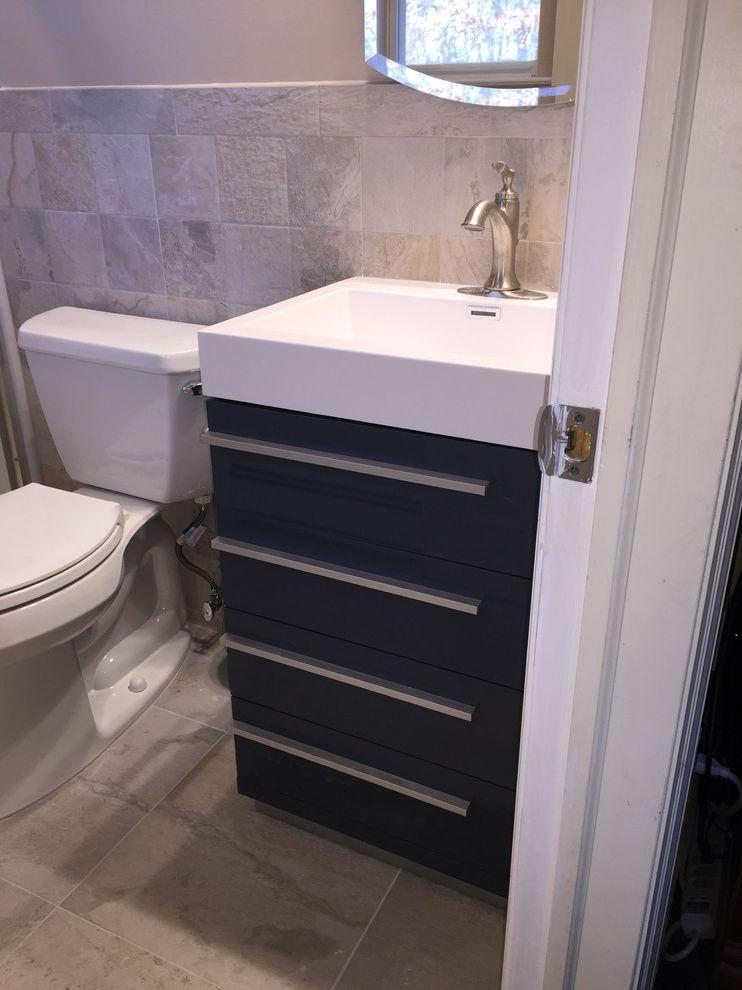 Lowes Medford   Contemporary Bathroom Also Blue Bathroom Blue Vanity Grey Bathroom Lowes Home Improvement Masterbath Shower
