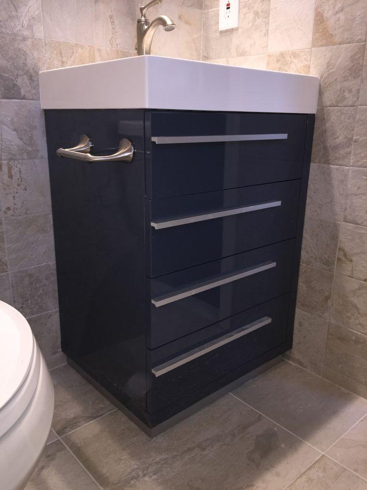 Lowes Medford   Contemporary Spaces Also Blue Bathroom Blue Vanity Grey Bathroom Lowes Home Improvement Masterbath Shower