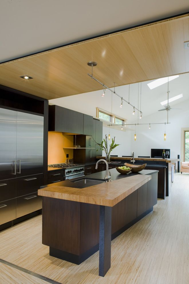Lowes Medford Oregon   Contemporary Kitchen Also Asian Bamboo Bamboo Ceiling Bamboo Countertop Bamboo Floor Black Counter Top Breakfast Bar Eco Friendly Environmentally Friendly Green Green Design Stainless Steel Appliances Sustainable Wood Countertop