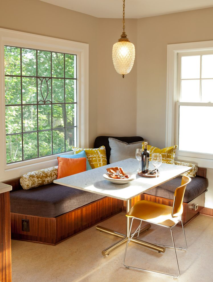 Lowes Medford Oregon   Modern Kitchen  and 1940s Influence Kitchen Accent Pillows Banquette Built in Banquette Seating Bench Seating Decorative Pillows Mahogany Cabinets Marmoleum Flooring Mid Toned Wood Painted Walls Pendant Light White Window Trim