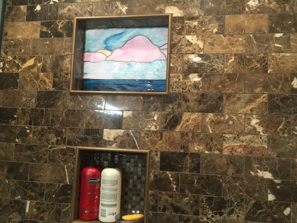 Lowes Medford with Contemporary Bathroom  and Allen Roth Allen Roth Emperador Espresso Marble Tile Bathroom Kohler Kohler Tresham Long Island Lowes Home Improvement Marble Medford New York Shower Vanity