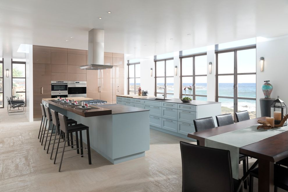 Lowes Oceanside with Beach Style Kitchen  and Beige Floor Tile French Doors High Gloss Cabinets Light Blue Cabinets Ocean View Oceanfront Wall Sconces Waterfront