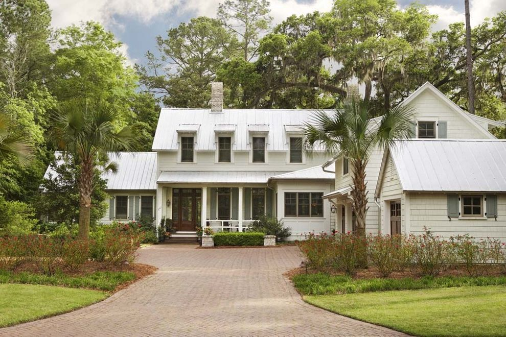 Lowes Paris Tn   Traditional Exterior  and Dormers Driveway Entrance Entry Front Door Front Porch Grass Lawn Mass Planting Metal Roof Palm Trees Plantation Shingle Siding Standing Rib Roof Standing Seam Roof Turf Window Shutters