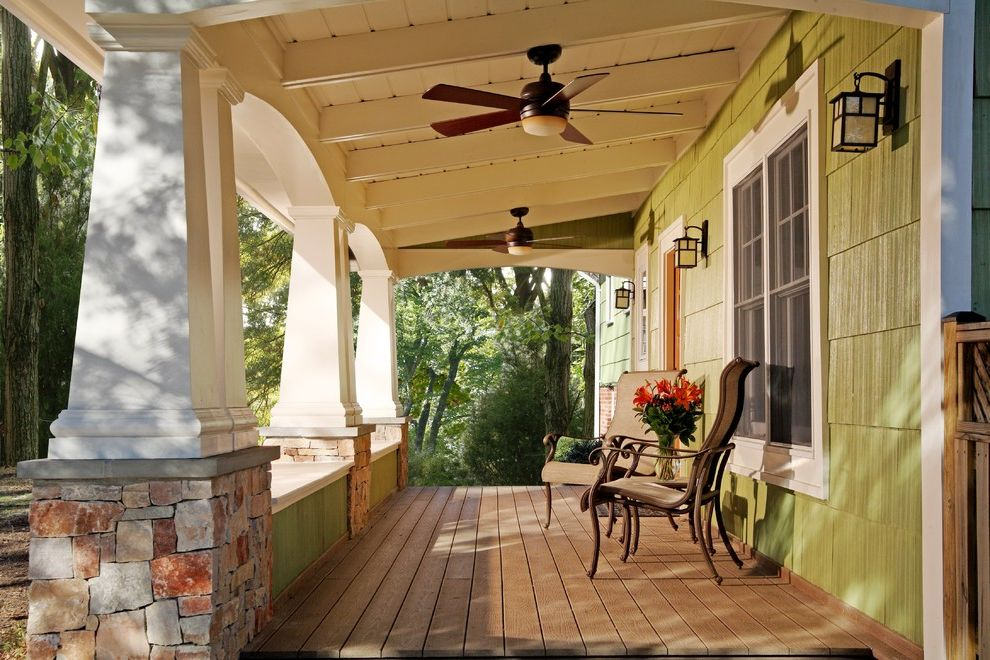 Lowes Pedestal Fan with Craftsman Porch  and Arch Arts and Crafts Columns Arts and Crafts Lantern Beams Bungalow Ceiling Ceiling Fan Columns Craftsman Dormer Fan Front Green Porch Rafters Shingles Square Stone Stone Column Base Wood Deck