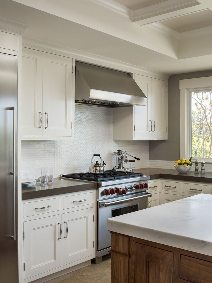 Lowes Plymouth Mn with Traditional Kitchen Also Coffee Maker Coffered Ceiling Kitchen Island Marble Stainless Steel Tiled Backsplash White Kitchen Cabinet White Tile Wood and White