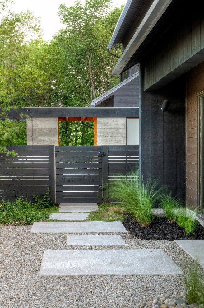 Lowes Pooler Ga   Modern Landscape  and Black Gravel Horizontal Fence Trees