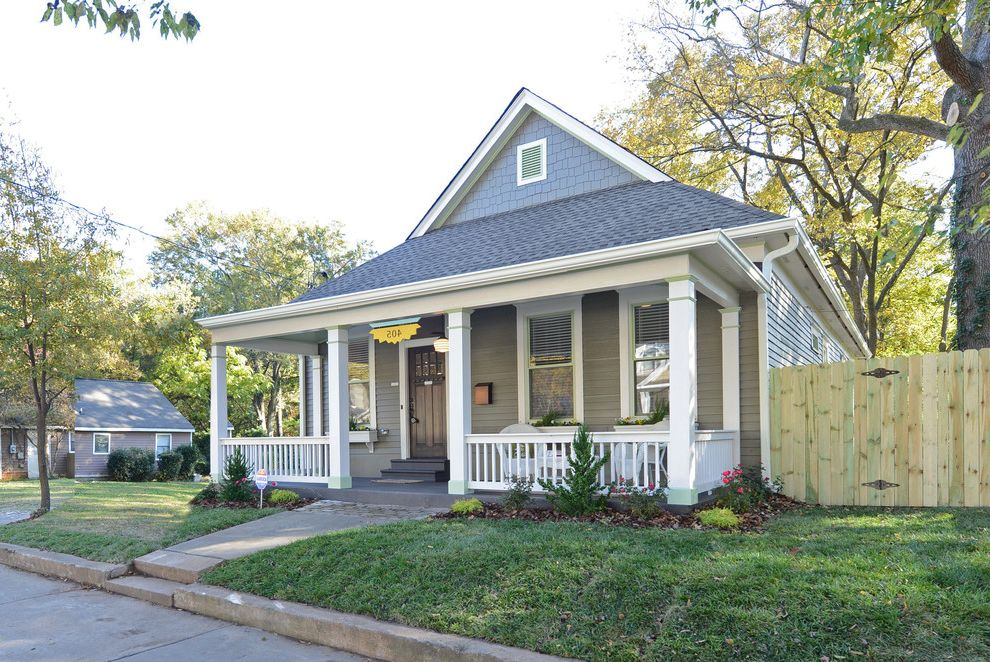Lowes Pooler Ga   Traditional Exterior Also Address Numbers Bungalow Column Covered Entry Door Dutch Gable Roof Fence Flowers Grass Gray Lawn Plants Porch Remodel Renovation Shingle Roof Siding Steps White Trim