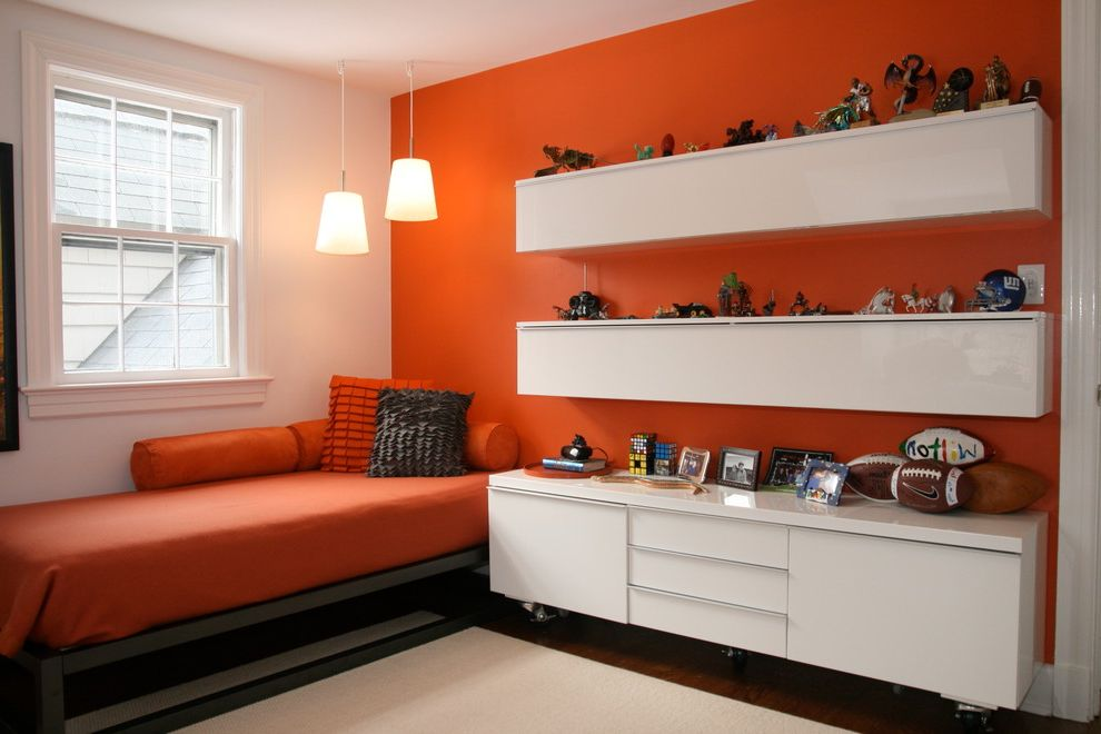 Lowes Port Orange   Contemporary Kids Also Bold Color Bolster Color Contrast Double Hung Window Felted Wool Pillows Floating Cabinets High Gloss Low Cabinet Orange Accent Walls Orange Bedding Pendant Lights Toys White