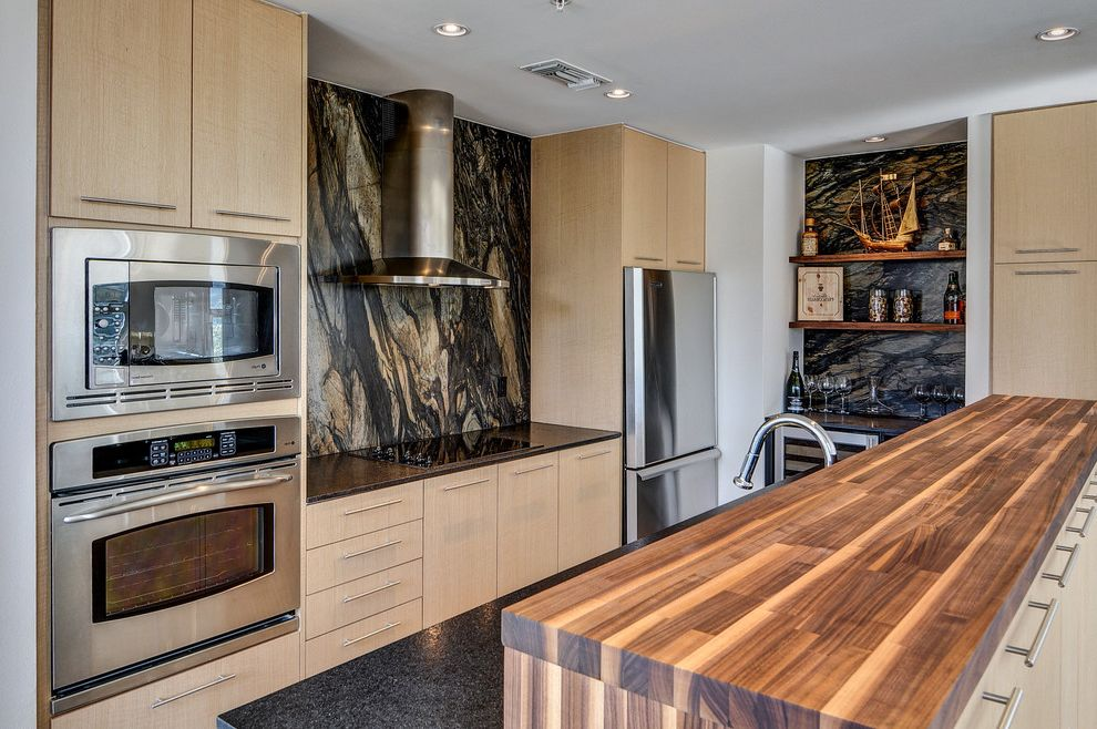 Lowes Preston Highway   Contemporary Kitchen  and Barrel Pulls Black Counter Built in Microwave Small Kitchen Stainless Hood Tubular Bar Pulls Two Level Peninsula Wall Oven Wine Fridge Wood Counter