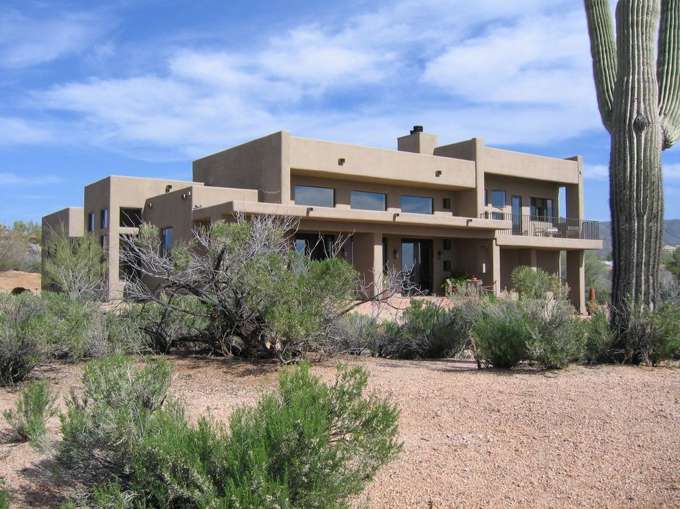 Lowes Pueblo Co   Southwestern Exterior  and Adobe Balcony Cactus Desert Drought Tolerant Flat Roof Geometric Geometry Low Maintenance Low Water Porch Southwest Vigas