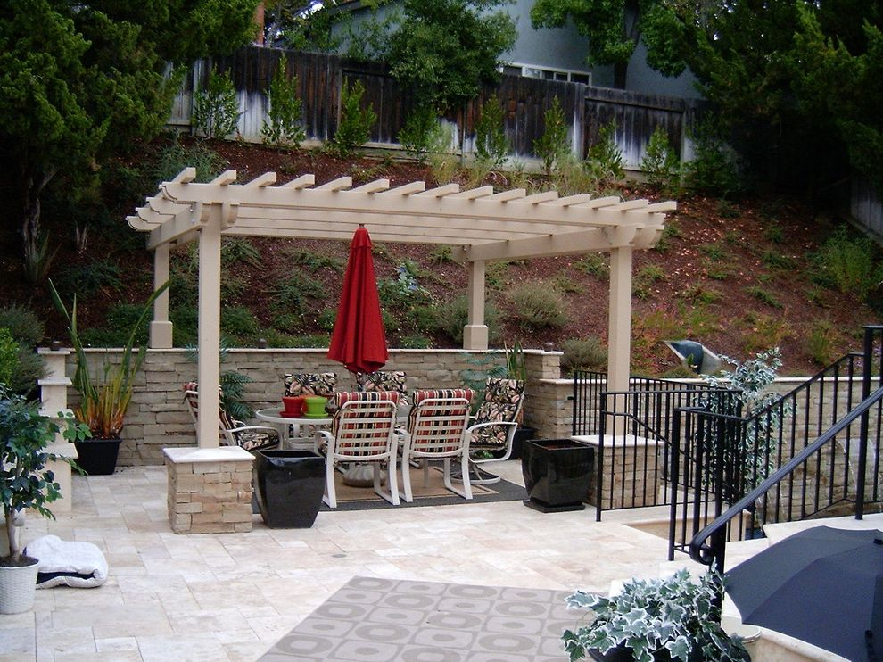 Lowes San Jose   Eclectic Patio Also Arbor Garden Furniture Iron Fence Iron Railing Iron Stair Railing Outdoor Dining Outdoor Furniture Outdoor Umbrella Patio Pergola Potted Plants Retaining Wall Shade Trellis Stone Columns Stone Wall Stonework Trellis