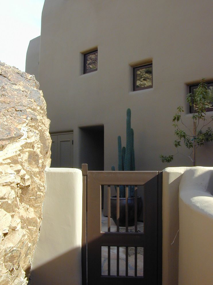 Lowes Santa Fe   Southwestern Entry  and Adobe Adobe Wall Boulder Cactus Entry Gate Porch Rock Rustic Santa Fe Southwest Wood Gate