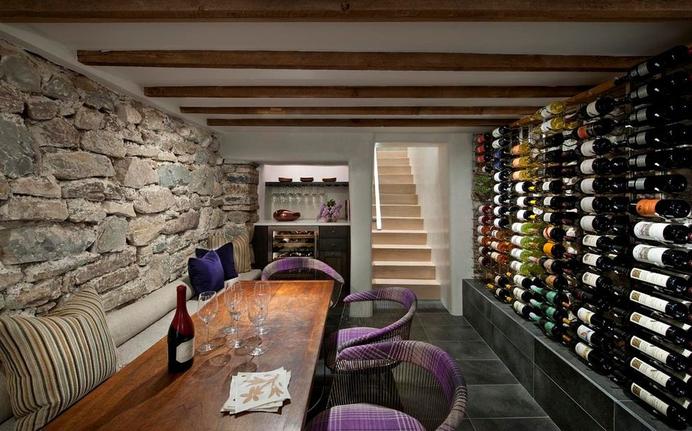Lowes Santa Fe with Southwestern Wine Cellar Also Clean Horizontal Wine Rack Modern Plaid Chair Platner Chair Purple Plaid Stone Stone Wall Tasting Room Wet Bar Wine Wine Room Wood Dining Table