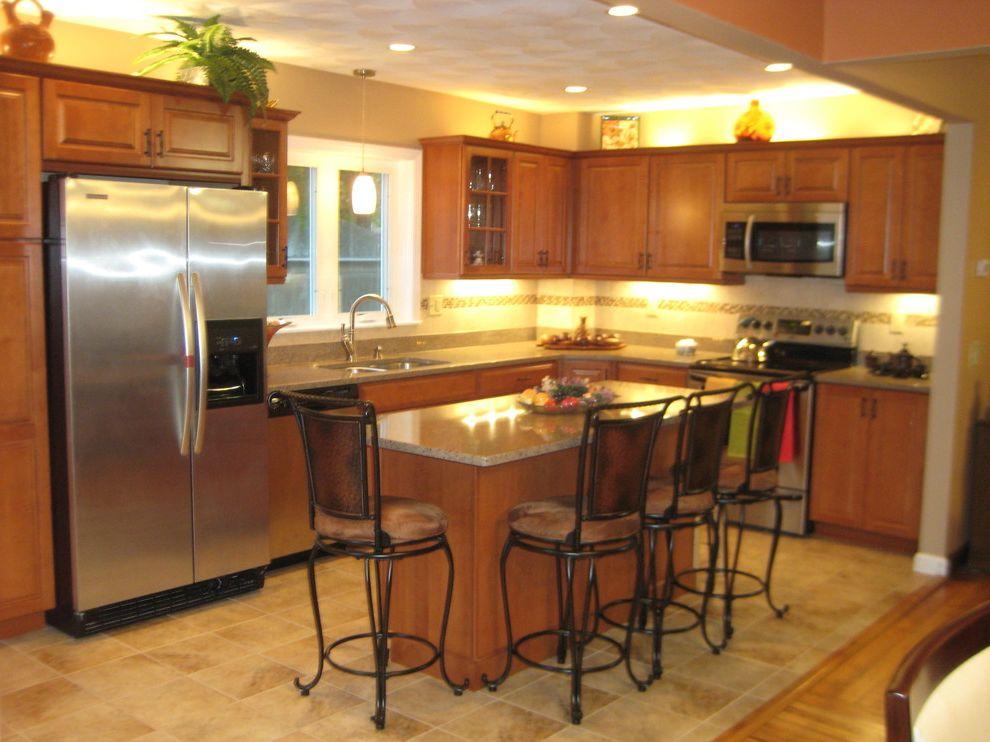 Lowes Seekonk   Traditional Kitchen  and Allen Roth Backsplash Classic Desk Glass Doors Gruene Island Kraftmaid Cabinets Maple Mosaic Tiles Open Porcelain Praline Seating Traditional
