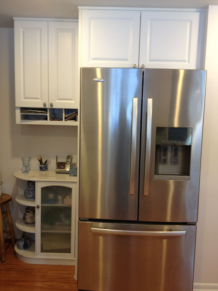 Lowes Seekonk   Traditional Kitchen  and Backsplash Blue Blue Saphire Cabinets Chair Rail Countertop Faucet Floor Glass Granite Gray Kitchen Marble Mosaic Paneling Pantry Round Sink Stainless Steel Subway Table Tile Traditional White Wood