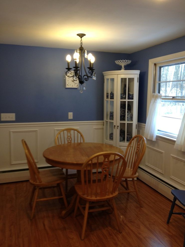 Lowes Seekonk with Traditional Dining Room  and Backsplash Blue Blue Saphire Cabinets Chair Rail Countertop Faucet Floor Glass Granite Gray Kitchen Marble Mosaic Paneling Pantry Round Sink Stainless Steel Subway Table Tile Traditional White Wood