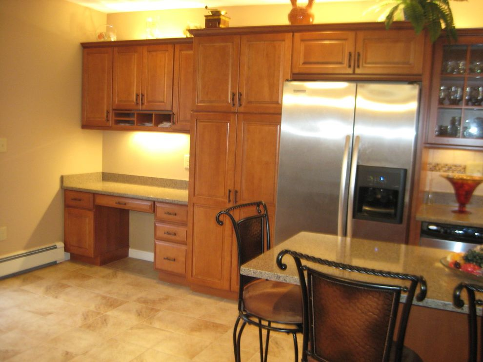 Lowes Seekonk with Traditional Kitchen  and Allen Roth Backsplash Classic Desk Glass Doors Gruene Island Kraftmaid Cabinets Maple Mosaic Tiles Open Porcelain Praline Seating Traditional
