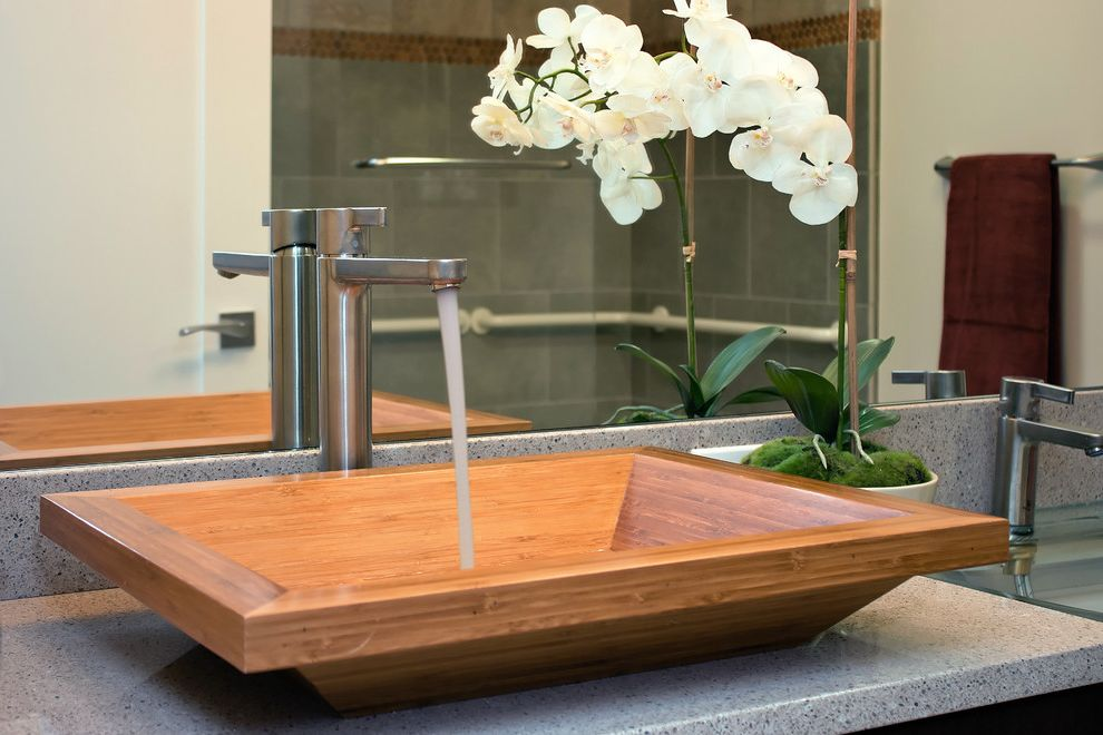Lowes Sinks and Faucets   Contemporary Bathroom Also Minimal Natural Sink Neutral Colors Orchid Square Sink Vessel Sink