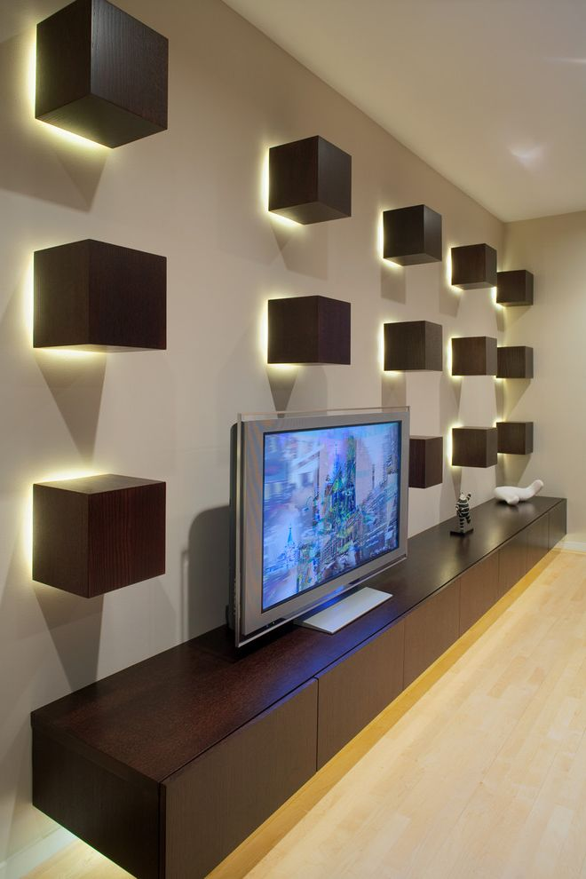 Lowes Southaven Ms   Contemporary Home Theater  and Backlighting Dark Wood Cabinets Floating Cabinets Media Storage Sconce Under Cabinet Lighting Wall Art Wall Decor Wall Lighting Wall Shelves
