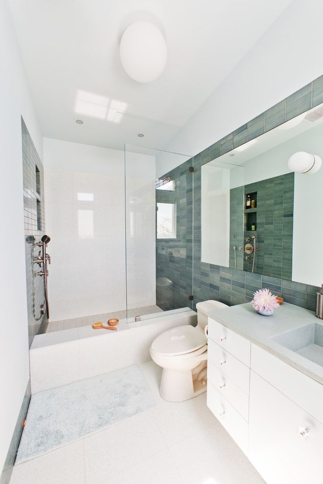 Lowes Southaven Ms with Contemporary Bathroom  and Bathroom Tile Blue Tile Ceiling Lighting Frameless Shower Door Kids Bathroom Minimal Recessed Lighting Shower Bench Shower Tile Shower Tub Subway Tile White Cabinets White Floor