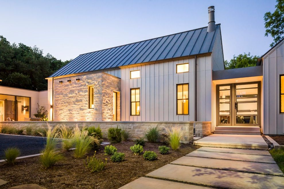 Lowes Thomasville Ga   Farmhouse Exterior  and Concrete Steps Limestone Metal Roof Modern Farmhouse Native Texas Landscape Pivot Door Shed Tall Grasses