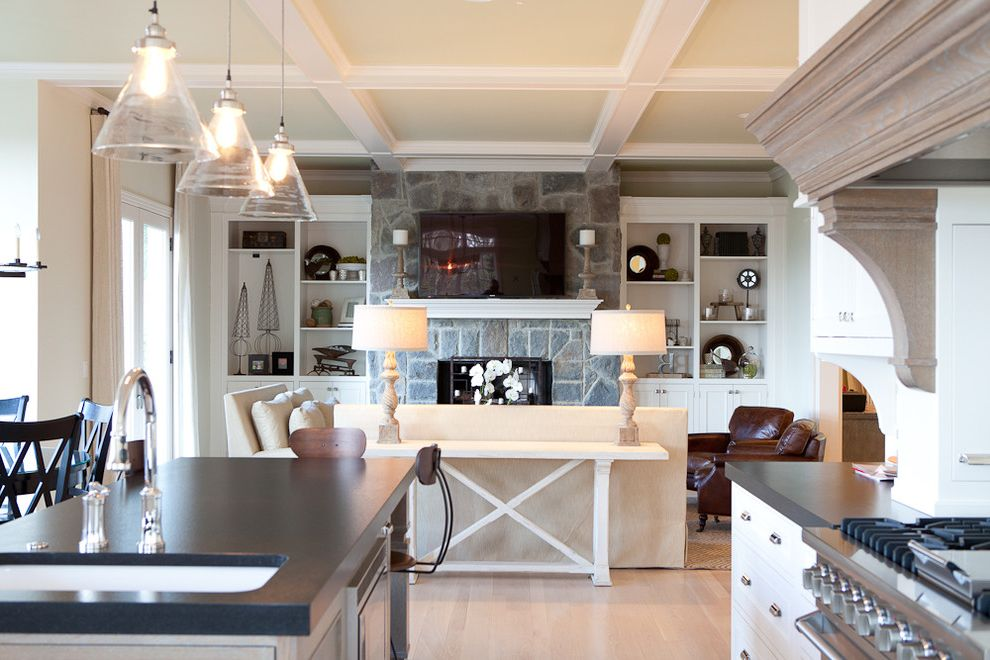 Lowes Thomasville Ga   Traditional Kitchen Also Accent Ceiling Coffered Ceiling Fireplace Glass Light Kitchen Island Leather Chair Open Space Pendant Light Side Board Side Table Sofa Stone Fireplace