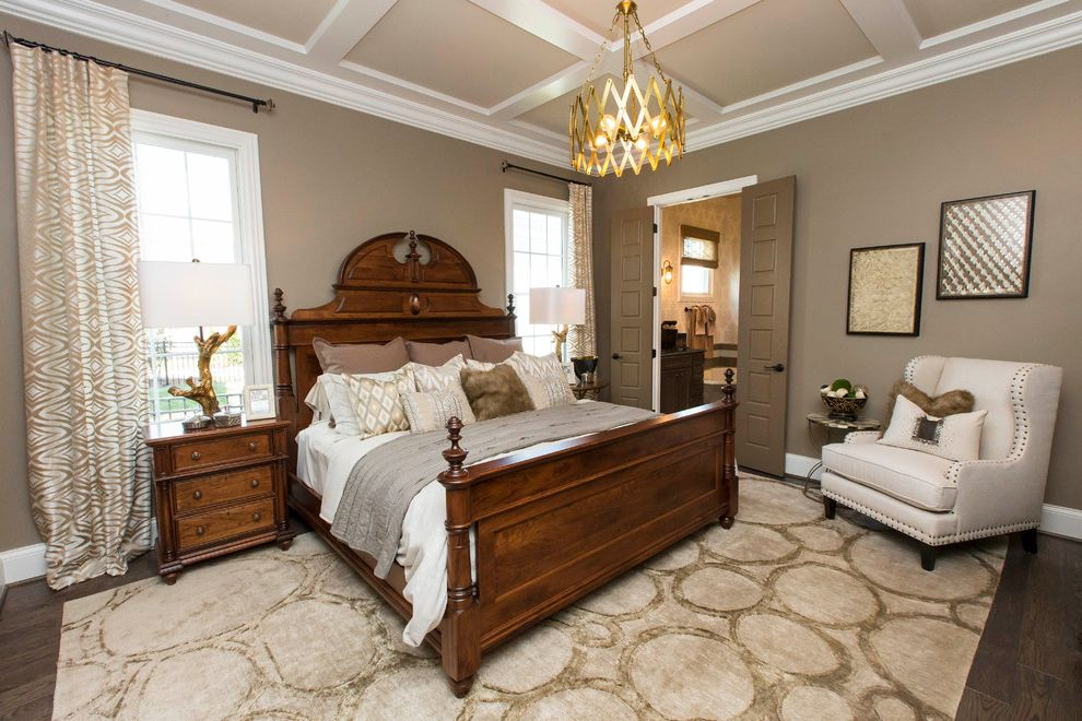 Lowes Thomasville Ga with Transitional Bedroom Also Area Rug Artwork Beige Armchair Coffered Ceiling Dark Wood Furniture Decorative Bedding Decorative Lighting Drapery Panels Fur Pillow Gold Gold Branch Lamps King Bed Nailhead Trim Neutral Colors