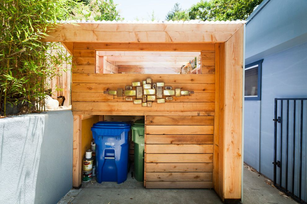 Lowes Trash Cans   Contemporary Shed Also Custom Art Modern Garage Stucco Walls Wood Panels