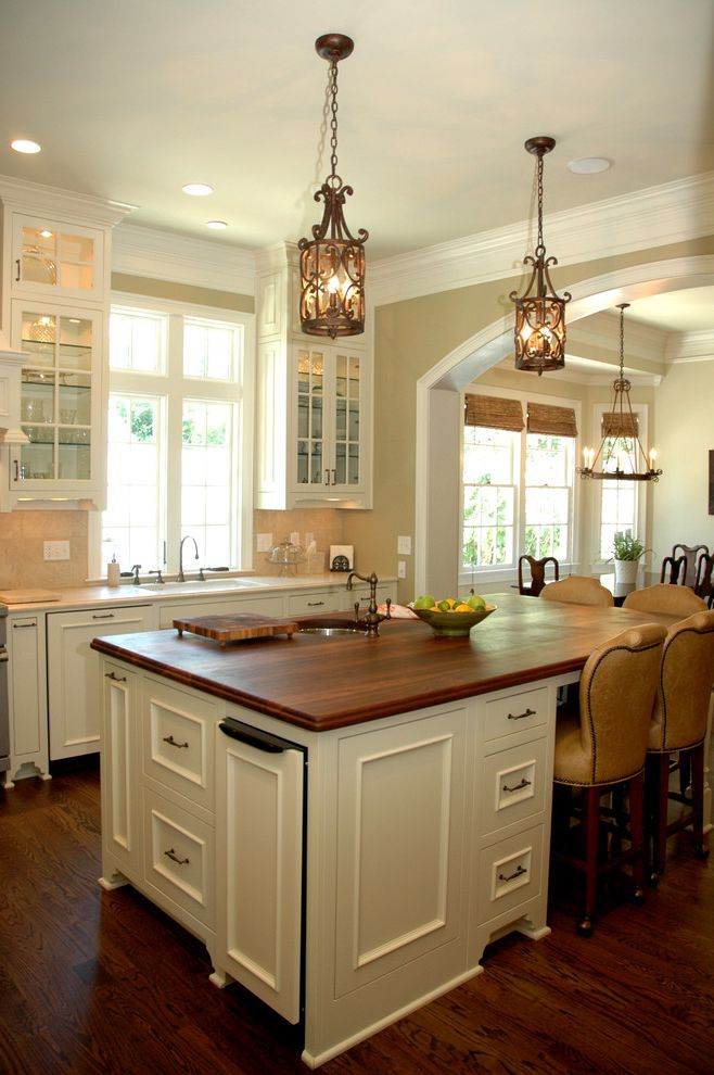Lowes Trash Cans   Traditional Kitchen  and Arched Doorway Barstool Chandelier Cottage Farmhouse Kitchen Glass Cabinets Kitchen Island Kitchen Island with Sink Wood Countertop Wood Floor
