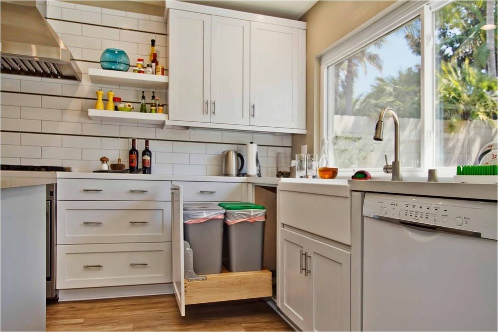 Lowes Trash Cans with Contemporary Kitchen Also Corner Cabinet Pull Out Trash Stainless Sink Storage Tile