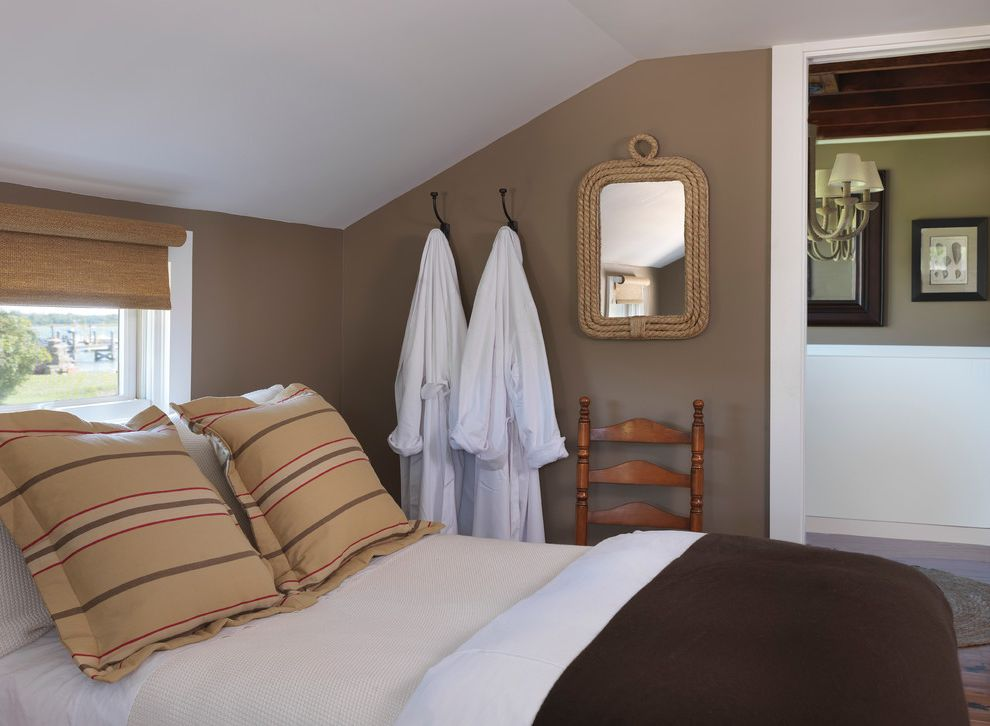 Lowes Traverse City   Beach Style Bedroom Also Angled Ceiling Costal Cottage Cottage Guest Bedroom Neutrals Rope