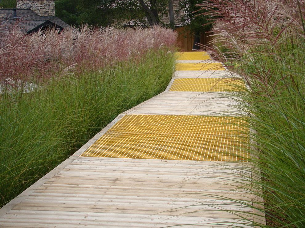 Lowes Traverse City   Contemporary Landscape Also Boardwalk Deck Floor Detailing Grass Hillside Low Maintenance Low Water Path Planter Slope Walkway Wooden Flooring